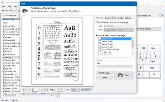 Printer's Apprentice - Windows font manager - print preview screen